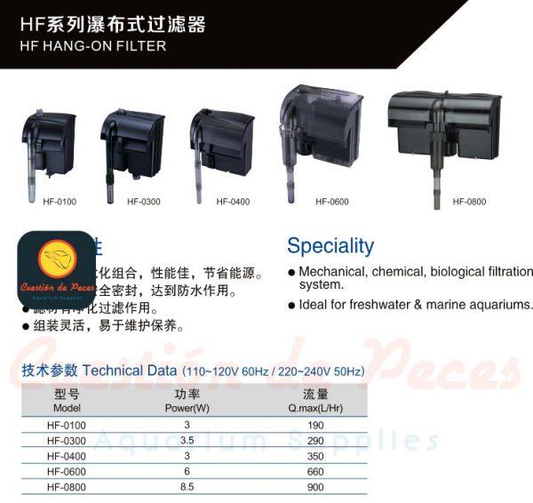 Filtro Externo Cascada Atman HF 100 100L/h