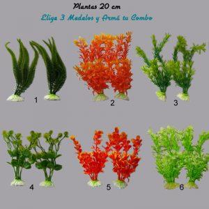 Plantas Artificiales Plásticas Acuario Combo 6×20 cm