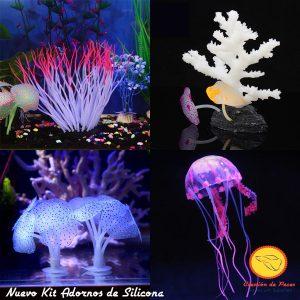 Kit Adornos de silicona medusa + corales + anemona